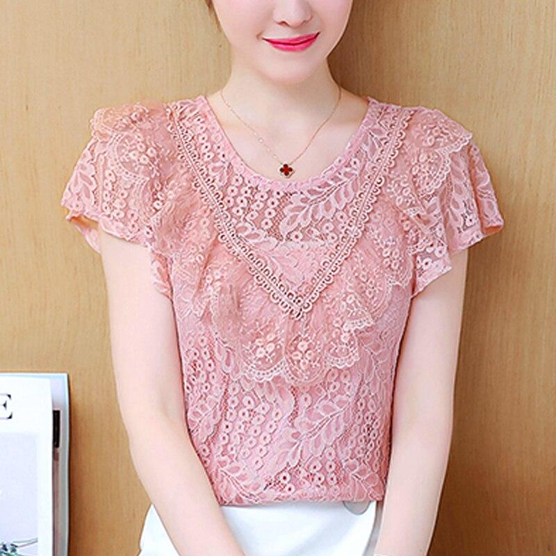 Ruffle Lace Short-Sleeved Women's Clothing Free Shipping Summer Chiffon Blouse 2019 New Blouses Shirts Pink Lace Women Tops 270B