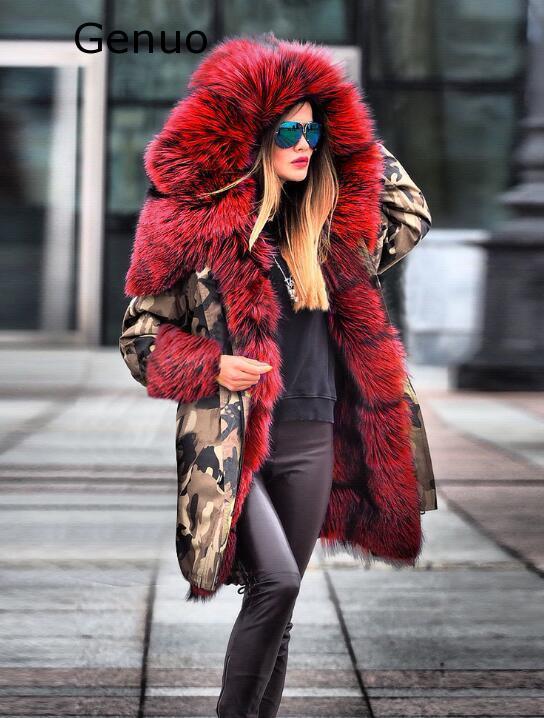 Véritable nouveau manteaux femmes fourrure floue Camouflage sweat à capuche chaud hiver veste coupe-vent Outwear épais mode nouveau manteau femmes 2020 - 5