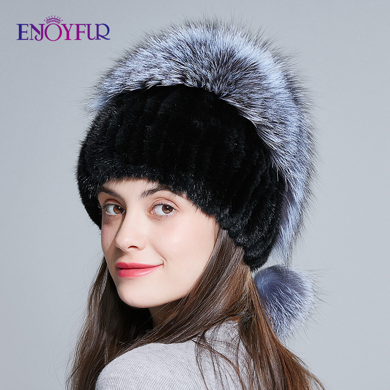 ENJOYFUR Women fur hat for winter genuine mink fur skullies with silver fox fur pom poms