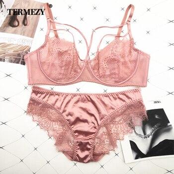 TERMEZY Classic Bandage Pink Bra Set Lingerie Push Up Brassiere Lace Underwear Set Sexy Satin fabric Panties For Women underwear 1