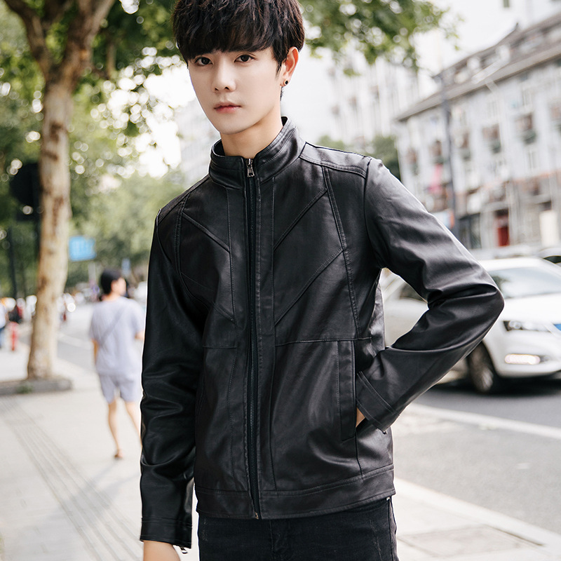 2018 Spring And Autumn New Style Leather Coat Coat Men's Leather Jacket Young And Middle-aged Pu Men's Wear Slim Fit