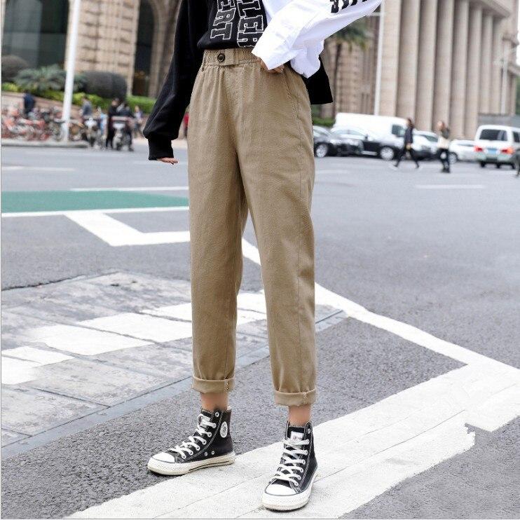 Korean Solid High Waist Casual Pants Women Loose Autumn Pockets Harem Pants Plus Size Harajuku Pencil Trousers Female Nine Pants