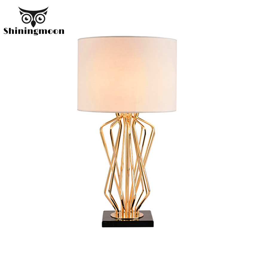 Nordic Fabric Lampshades Table Lamp Modern Gold Led Living Room Light Bedside Home Deco Bedroom Study Maison