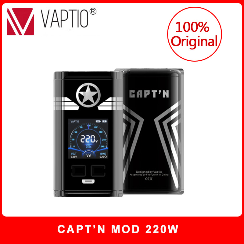 Original Vaptio CAPT'N 220W Mod Cigarette électronique vape mod avec 1.3 pouces OLED écran Support VW 18650 batterie (pas de batterie)