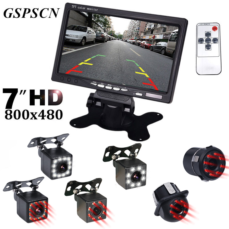 GSPSCN Car Auto Parking Assistance Night Vision Reversing Backup Rear View Camera Infrared 7 Inch LCD Video Car Rearview Monitor