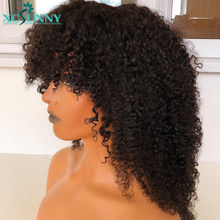Kinky Curly Wig Human Hair Wigs With Bangs 20inch Remy Brazilian O Scalp Top Full Machine Made Wig Glueless For Women xcsunny
