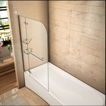 Folding bath screens with glass shelf shelves and towel rail (hinged hinge) 120x140cm