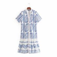 Summer Print Dress Women's V-Neck Floral Chiffon Straight Chinese Style Knee-length Dresses цена 2017