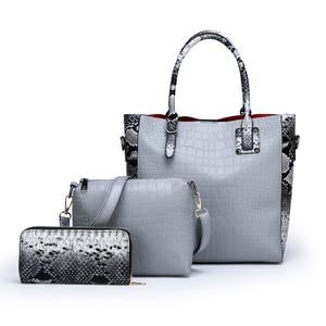 Image 2 - Conjunto de 3 piezas de lujo para mujer, bolsa de gran capacidad, bolso de hombro retro para mujer, bolso cruzado de cuero pu con billetera