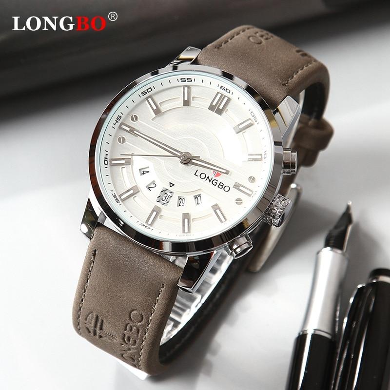 LONGBO 2020 New Men Watch Top Luxury Brand Waterproof Quartz Men's Leather Analog Sports Digital Male Clock Relogio Masculino