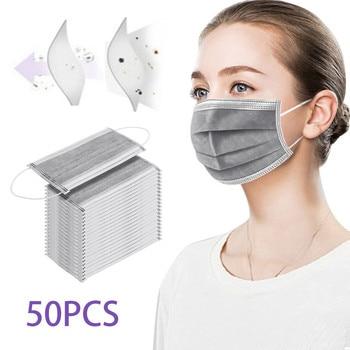 50pcs Adult Gray Non Woven Disposable Facemask 3 Layer Anti-dust Disposable Facemask Face Mascarilla Desechable Masque jetable