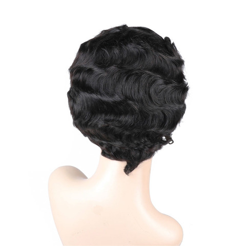 Short Lace Human Hair Wigs Peruvian Ocean Wave Hairline Lace Wigs for Black Women Natural Color Non Remy 130% Density Bling Hair Lahore