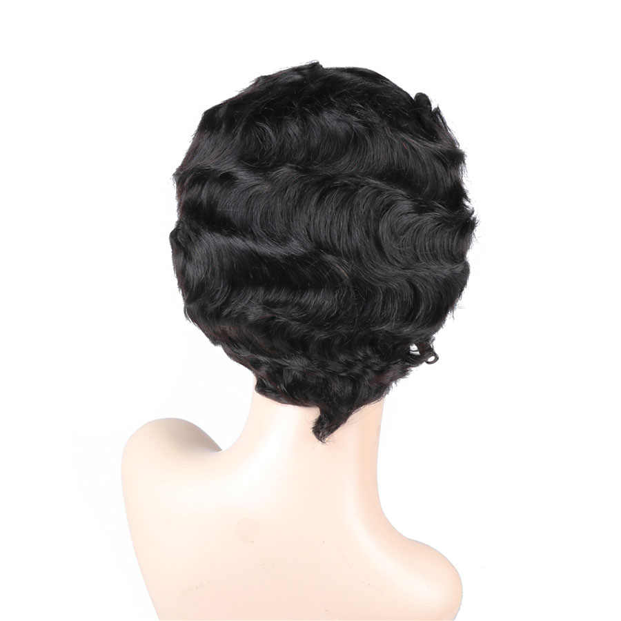 Short Lace Human Hair Wigs Peruvian Ocean Wave Hairline Lace Wigs for Black Women Natural Color Non Remy 130% Density Bling Hair