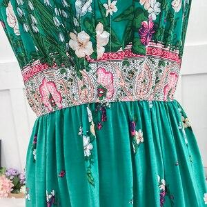 Image 5 - Винтажное женское богемное платье, элегантное пляжное платье Бохо с принтом, новинка 2020, модное свободное платье без рукавов с цветочным рисунком