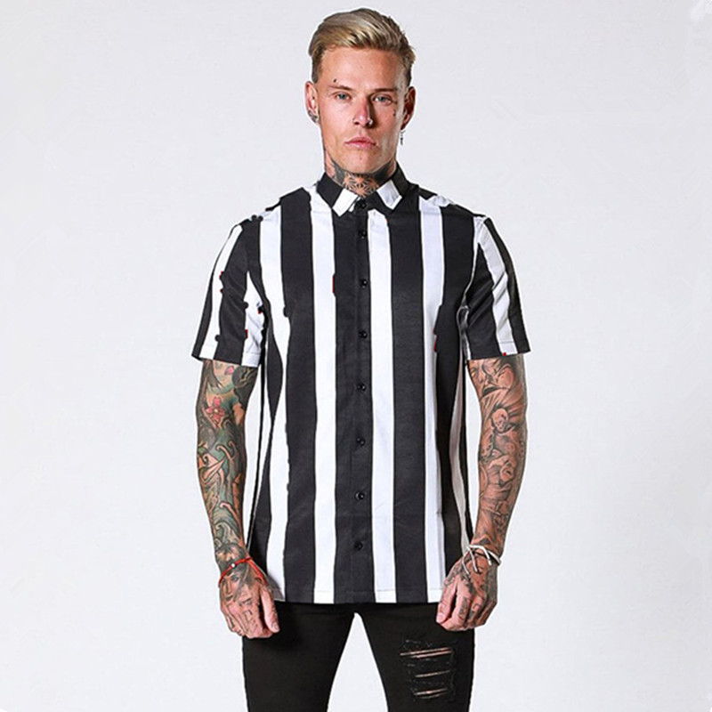 2019 New Casual Men Stripe Shirt Short Sleeve Solid Summer Breathable Fashion Men Business Shirt Muscle Slim Fit Tops Chemise