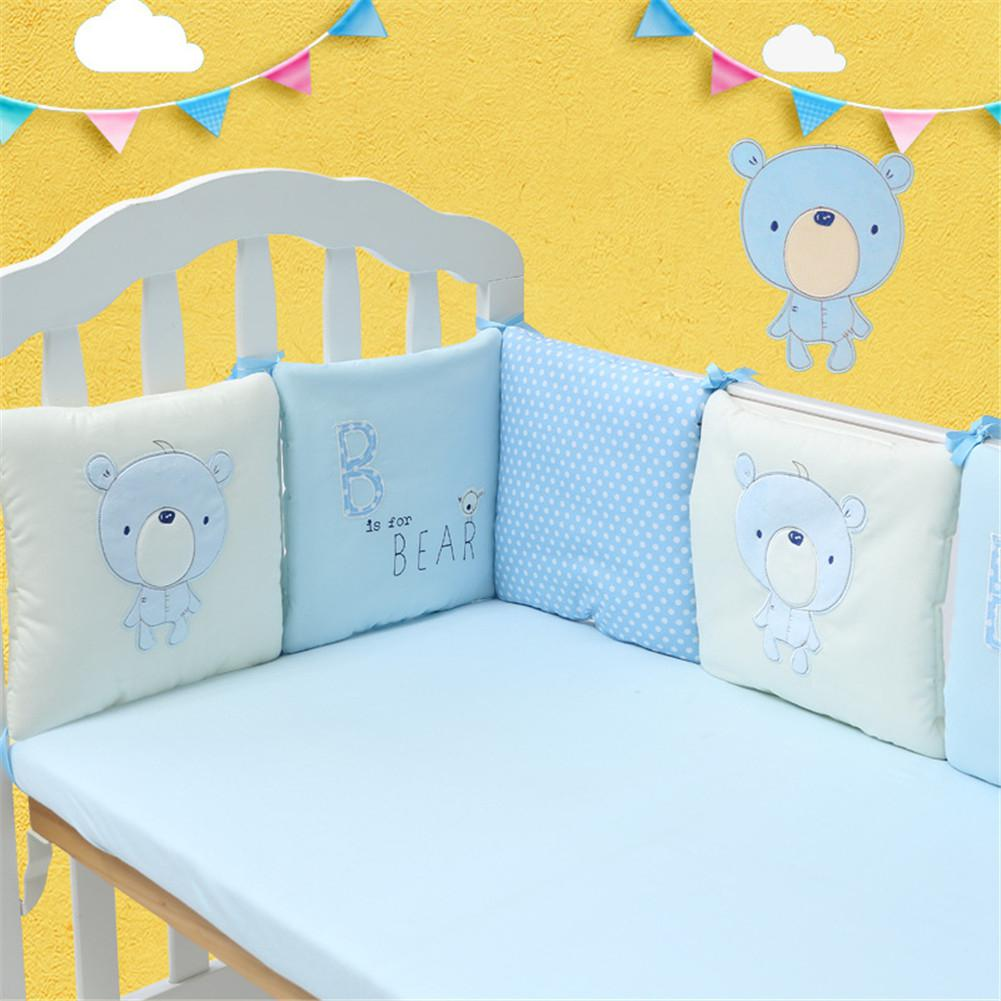 Kidlove 6Pcs Baby Bed Bumper Baby Cotton Bed Protector Crib Bumper Pads Cartoon Bedding Safety Rail