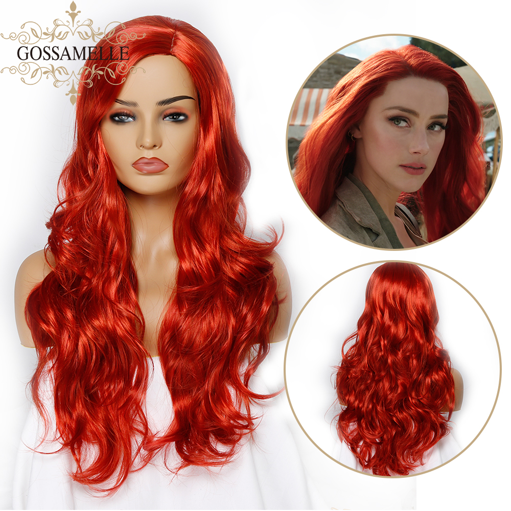 Gossamelle Red Wigs For Women Long Wavy Synthetic Wigs Side Part High Temperature Hair Cosplay Wig African American