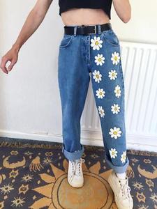 Jeans Flower Women Pants Graffiti High-Street-Trousers Print Blue Vintage Girl Straight