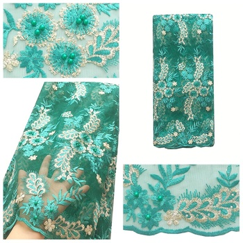Wedding Teal Green Tulle Lace Embroidered Guipure Beaded Lace Fabric 2020 French Mesh Net Latest African Swiss French Laces 2018
