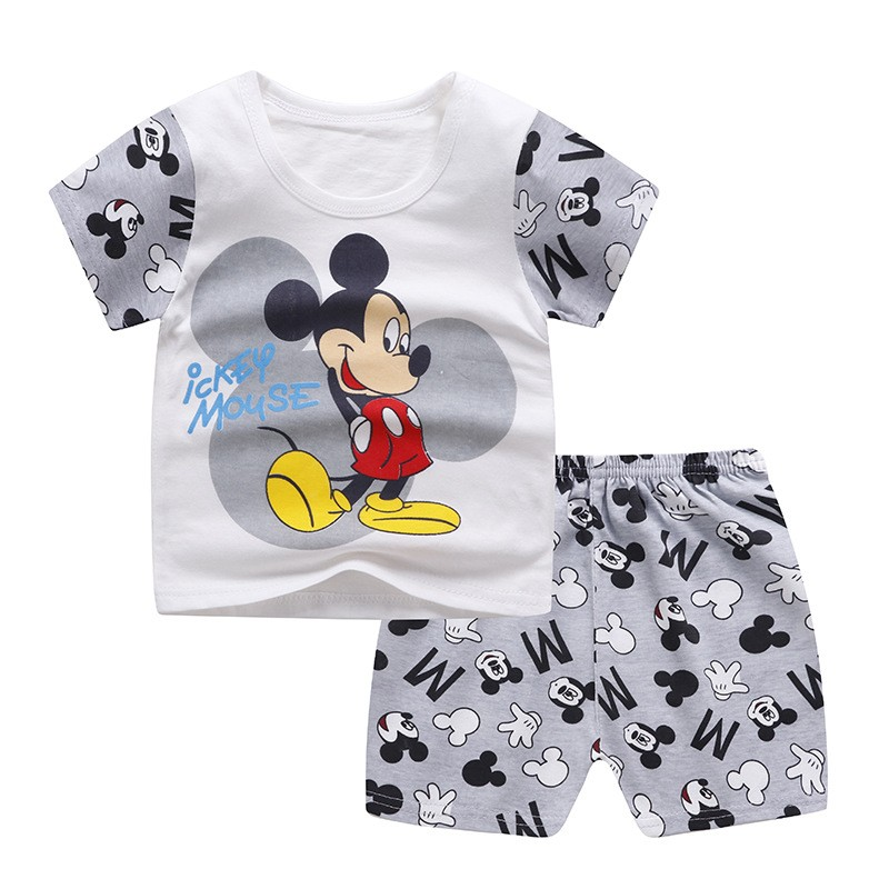 Brand Designer Cartoon Clothing Mickey Mouse Baby Boy Summer Clothes T-shirt+shorts Baby Girl Casual Clothing Sets 2