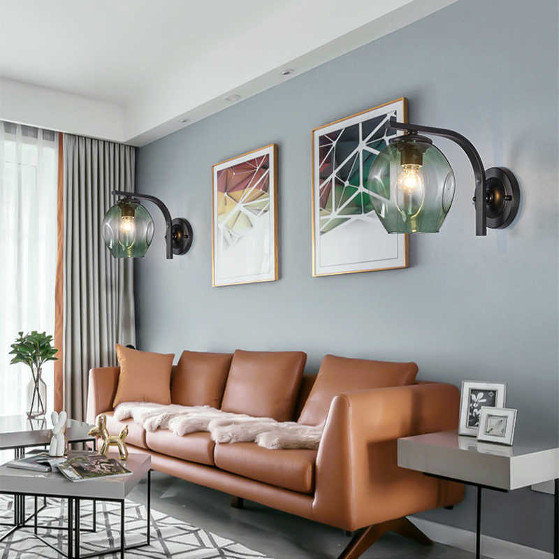 Warna Modern Sconce Dinding Lampu Kaca Kap Lampu Loft Dekoratif Indoor Koridor Lampu Dinding LED Perlengkapan E27 Hitam Emas Biru
