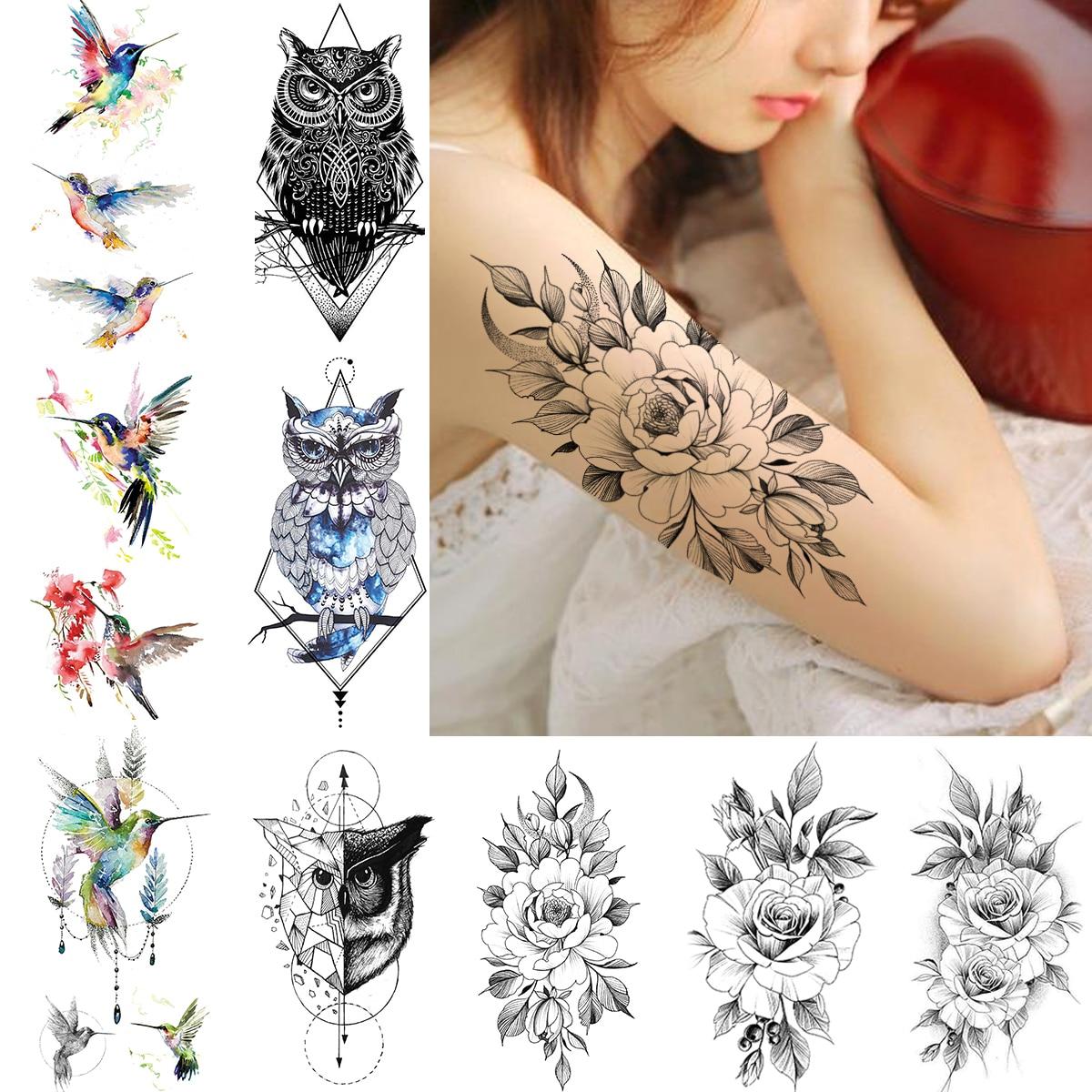 Diamond Rhombus Owl Temporary Tattoos For Women Crescent Moon Flower Arm Tatoos Body Art Fake Flash Hummingbird Tattoo Stickers