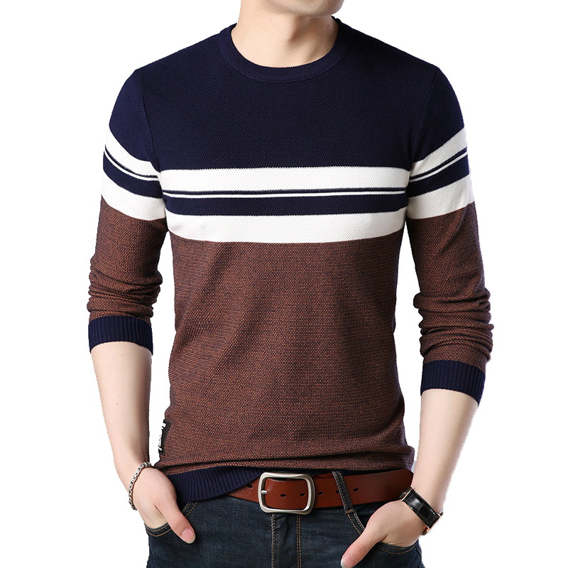 2019 Autumn Winter Men's Pullover Sweater Male Korean Version Slim Fit Shirt Men Casual Fashion Warm Pullovers O-Neck Striped
