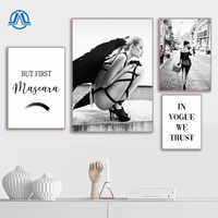 Black White Angel Wing Picture Scandinavian Fashion Poster Nordic Mascara Vogue Print Wall Art Canvas Painting Living Room Decor