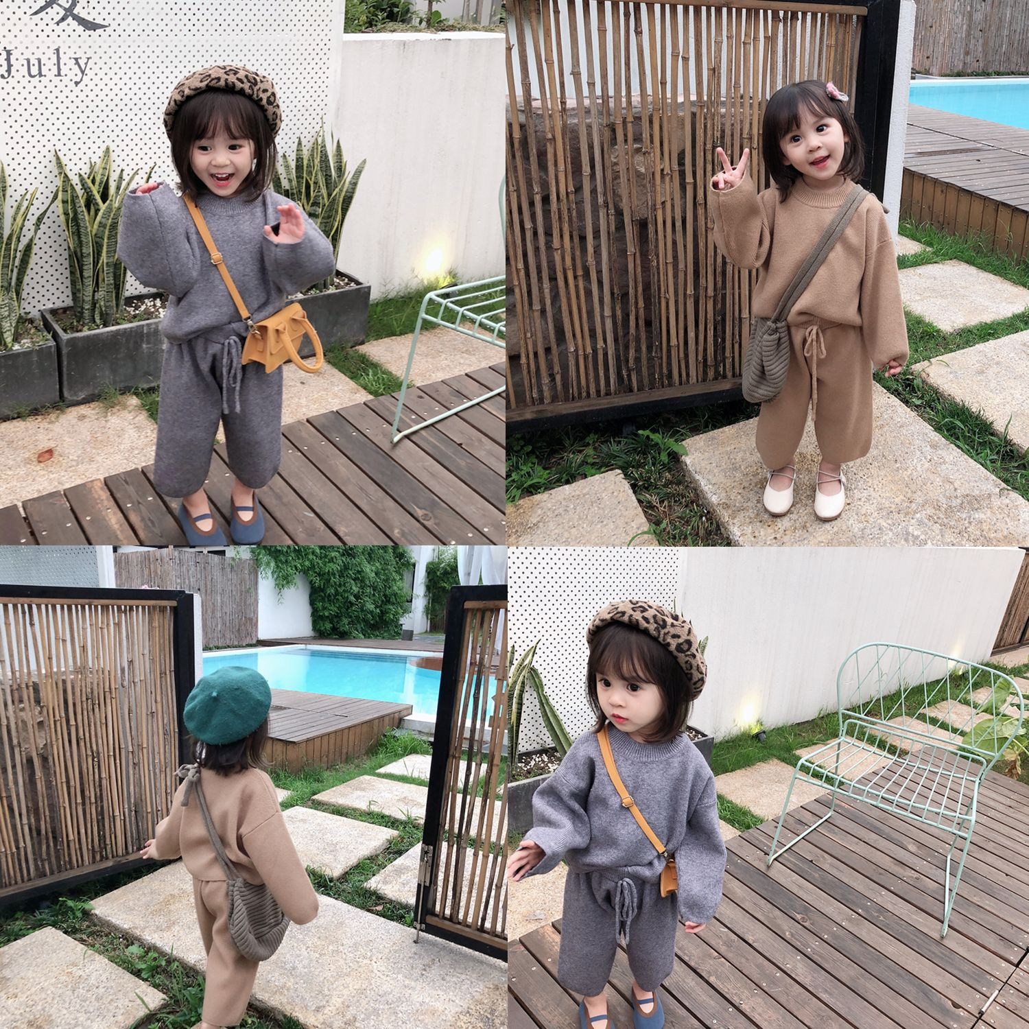 Fall 2019 New Korean Version Girl Leisure Loose Core-spun Yarn Sweater Suit with wide legging for baby girls toddler baby cloth(China)