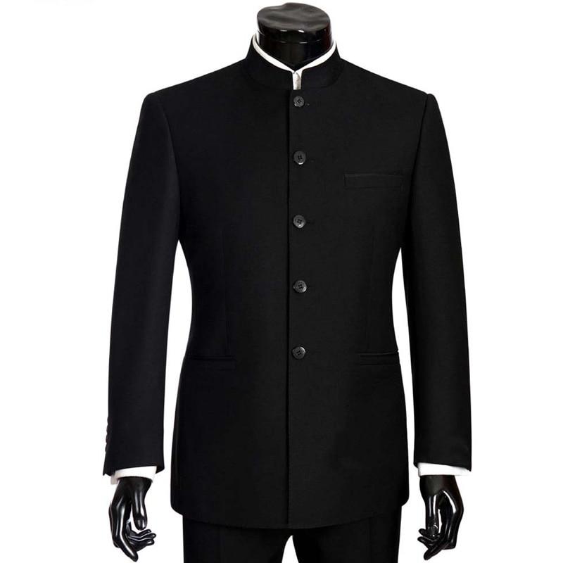 Brand Men Suits Big size Chinese Mandarin Collar Male Suit Slim Fit Blazer Wedding Terno Tuxedo 2 Pieces Jacket  amp  Pant