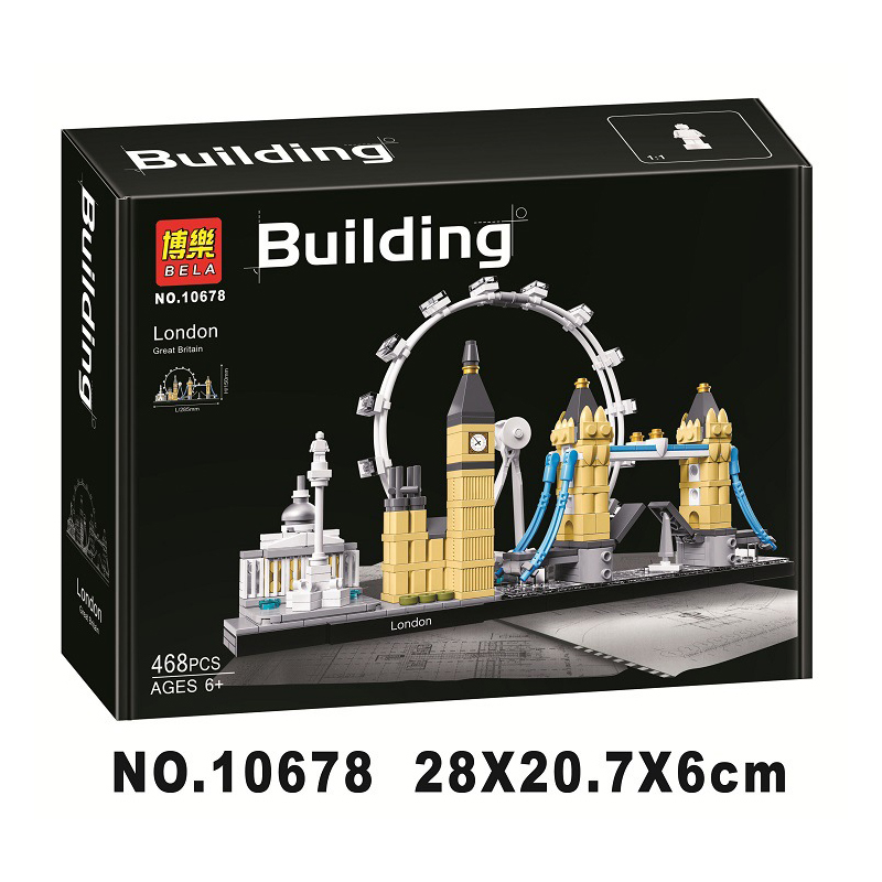 10678 Architecture Building Set London 21034 Big Ben Tower Bridge Model Building Block Bricks Toys Compatible city Legoinglys(China)