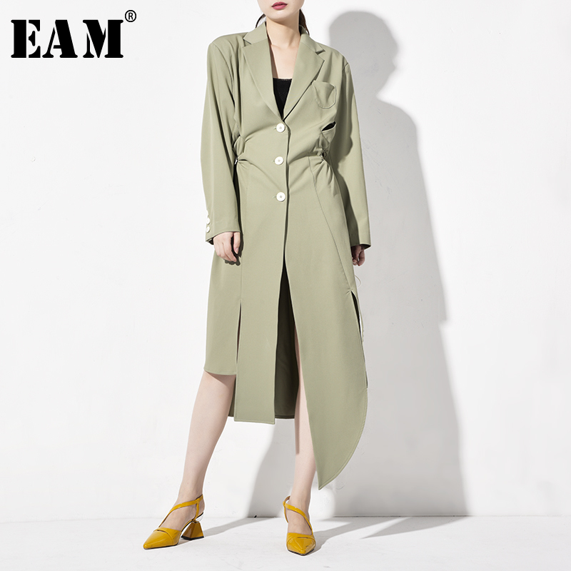 [EAM] Women Green Hollow Out Asymmetrical Trench New Lapel Long Sleeve Loose Fit Windbreaker Fashion Spring Autumn 2020 JZ18106