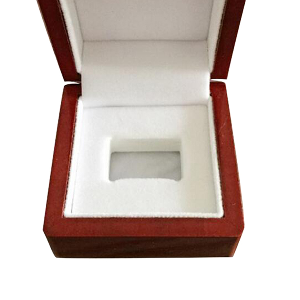 Square Shape Championship Ring Collection Box Wine Red Natural Wooden 1 Hole Small Size Travel Case