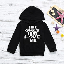 Cool toddler kids 베이비 보이 스웻 셔츠 편지 the girls just love me 후드 티 스웨터 블라우스 long sleev hoodies black top @ 40(China)