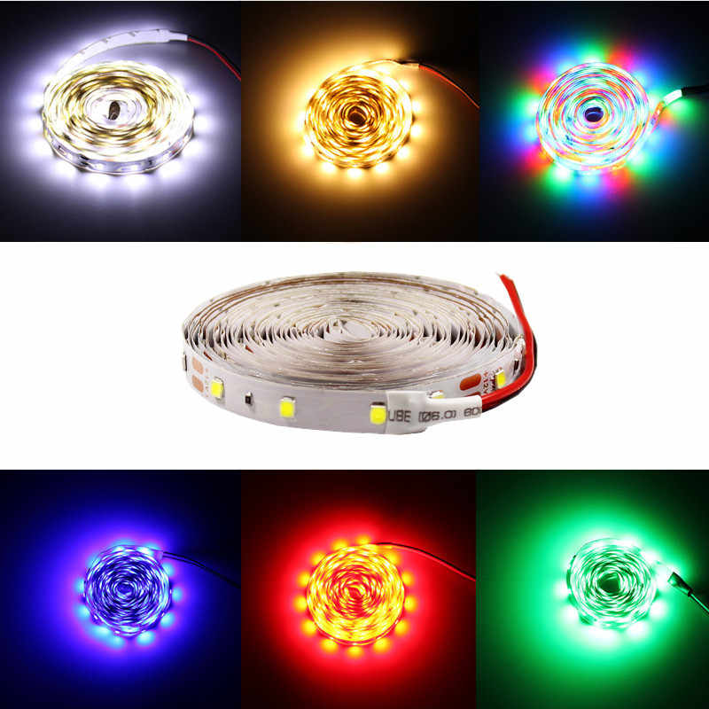 5 M/Gulungan Tahan Air RGB LED Strip Neon Lampu Hangat Putih Biru Merah Hijau Pita LED Fleksibel Strip Lampu tape Adaptor 12 V