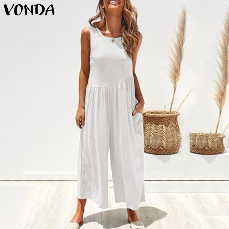 Womens Jumpsuits Rompers VONDA 2019 Summer Sexy Sleeveless Solid Color Loose Playsuit Femme Casual Wide Leg Long Pants Trousers