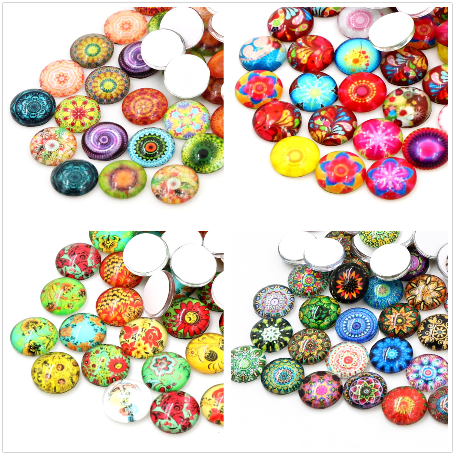 50pcs/Lot 12mm Colorful Fashion Flower Photo Glass Cabochons Mixed Color Cabochons For Bracelet Earrings Necklace Bases Settings