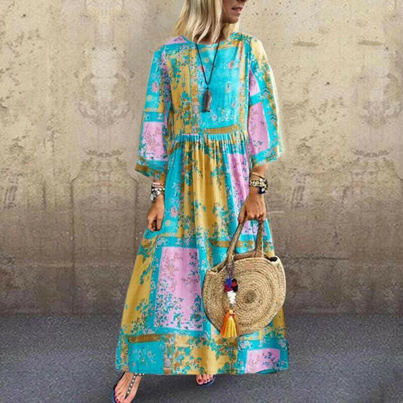 2019 New Women Boho Floral Long Maxi Sundress Ladies O-neck Long Sleeve Holiday Kaftan Casual Beach Sundress Plus Size