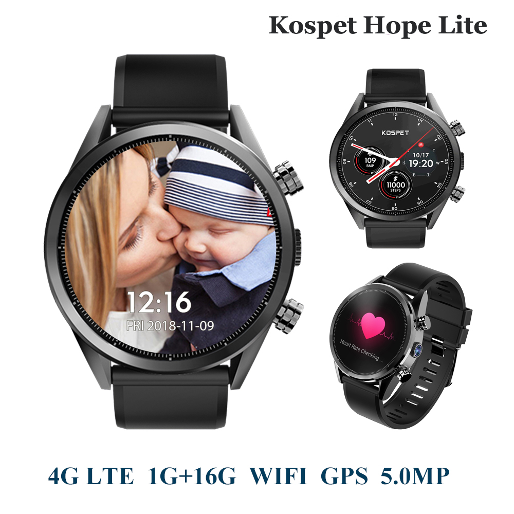 KOSPET Hope Lite 1GB 16GB Android7.1.1 Dual 4G Smartwatch Men WIFI GPS 8.0MP 1.39