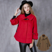 SWYIVY Womens Wool Coat Woolen Cloak Autumn And Winter Fashion Warm Jacket Casual Lapel Shawl Overcoat
