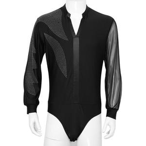 Image 2 - Homem brilhante latina dança camisas topo ginástica collant bodysuit masculino de uma peça glitter salão de baile tango dança contemporânea outfit