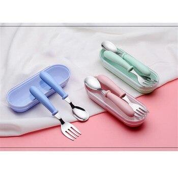 Nordic Baby Tableware Set Children Utensil Stainless Steel Toddler Dinnerware Cutlery Cartoon Infant Food Feeding Spoon Fork