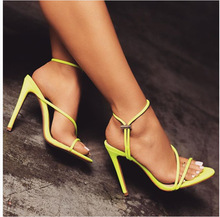 New Summer Fluorescent Color Toe Fine High Heel Ladies Sandals Large Size 43 Women's Shoes Tide  Zapatos Mujer Tacon