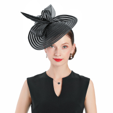 Wedding Hats For Women Elegant Banquet Fedoras Church Hat Fascinator Black Cocktail Tea Party Feather With Bow Caps