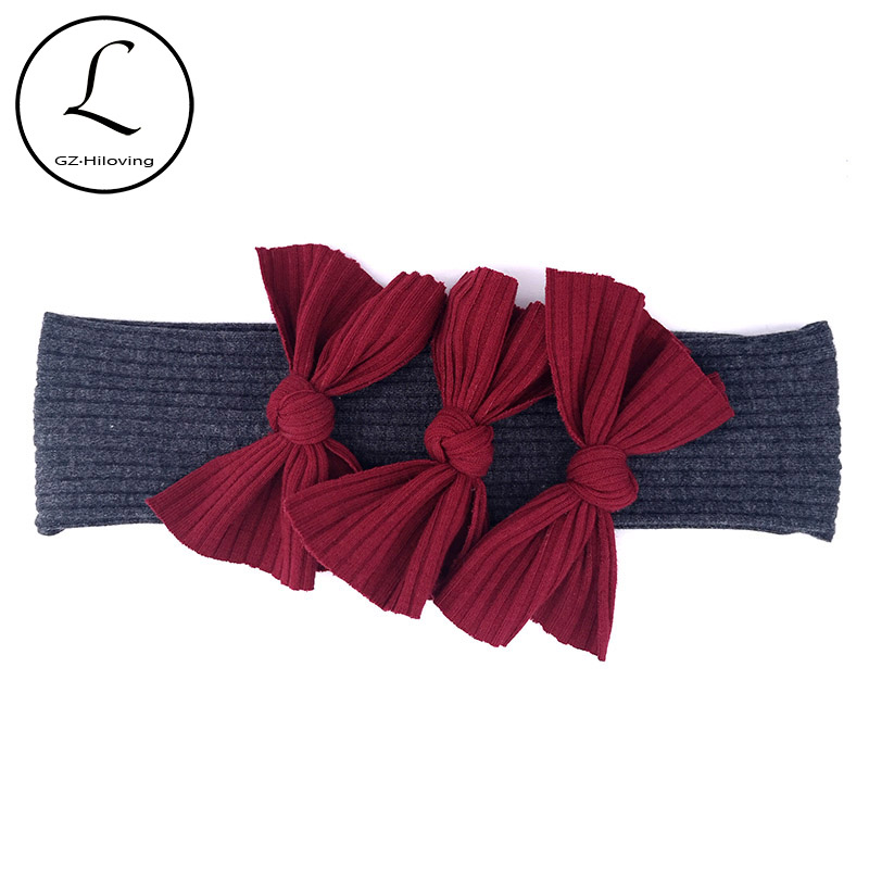 Cute 3 Pcs Bow Cotton Headbands For Baby Girls Boys Toddler Children Soft Ribbed Hairbands Headwrap  For Kids Hair Accessories