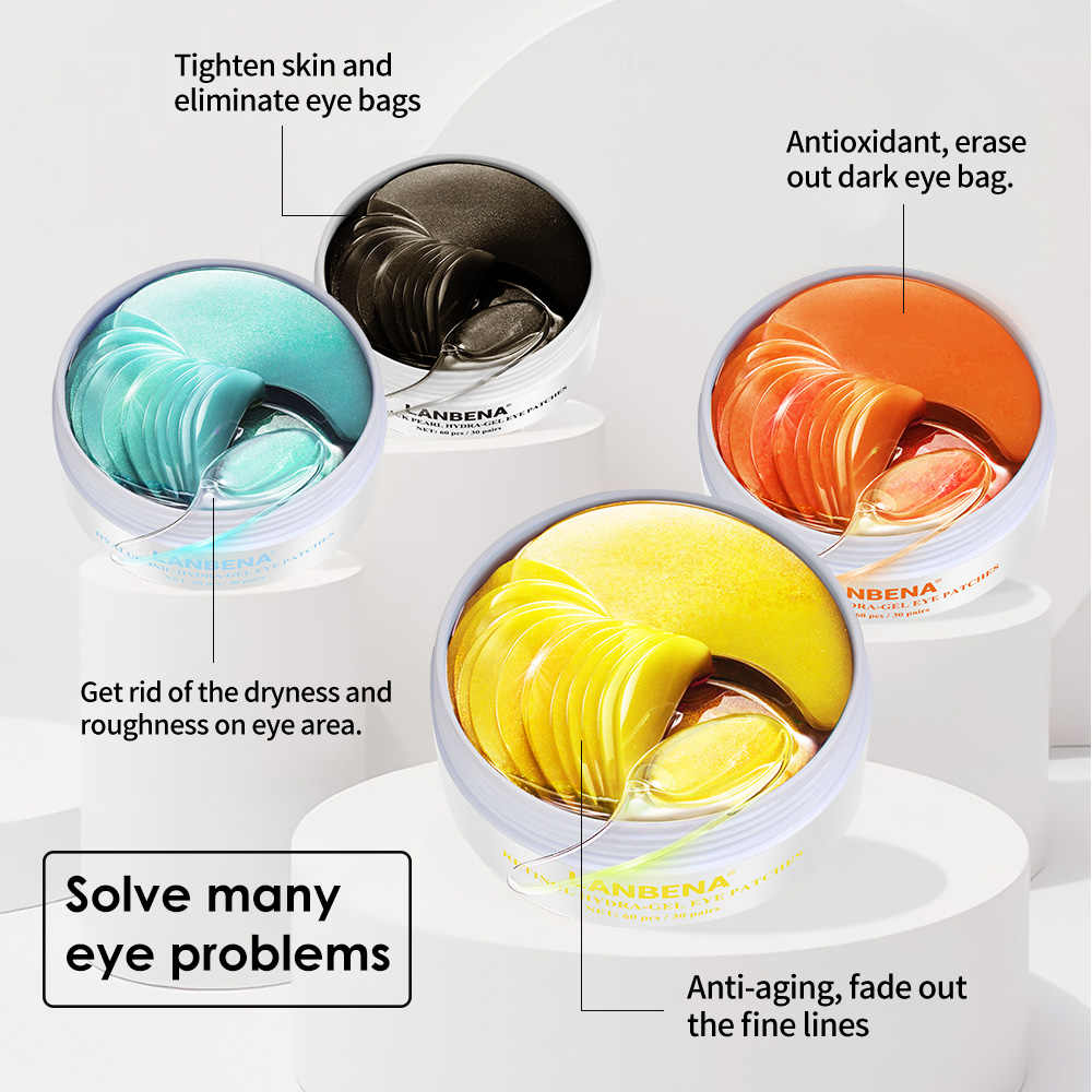 LANBENA قناع عين الكولاجين لصقة عين العناية بالبشرة الهيالورونيك جيل حمضي ترطيب ريتينول مكافحة الشيخوخة إزالة الهالات السوداء كيس العين