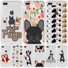 Capa de telefone para iphone xr xs11 12 mini pro max 8 7 6 s pug bulldog francês silicone macio capa traseira para apple iphone 8 7plus caso