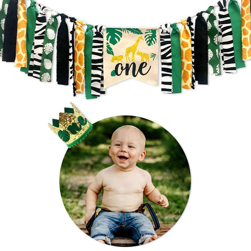 สัตว์ป่าชุด Highchair แบนเนอร์ตกแต่ง Crown อุปกรณ์สำหรับทารก 1st วันเกิด VJ-Drop