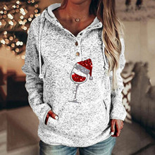 Tops Casual Sweaters Pullover Polera O-Neck Long-Sleeve Wine-Pattern Christmas-Print