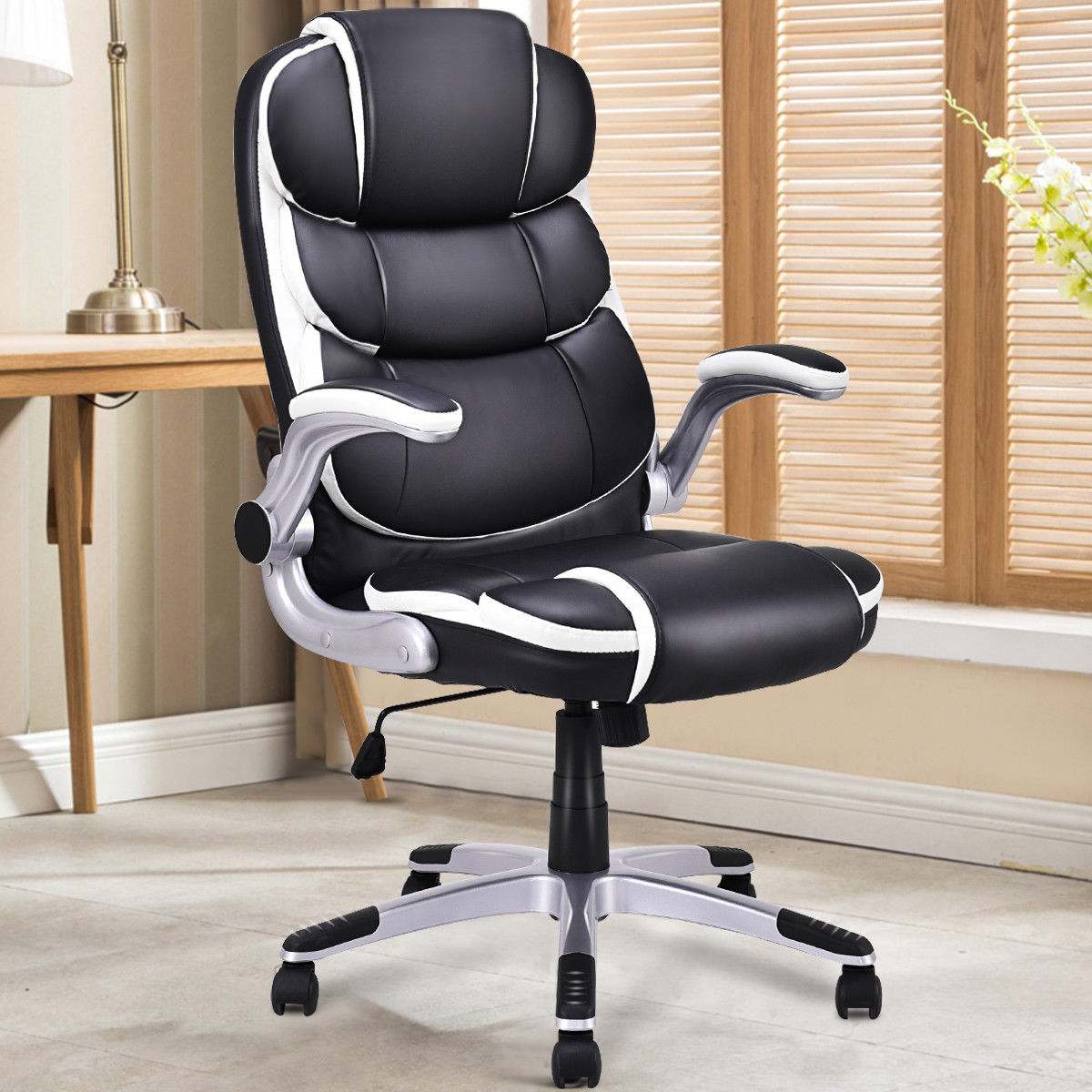 PU Leather High Back Executive Office Chair Modern Swivel Desk Task Computer Gaming Chairs Ergonomic Furniture HW56602